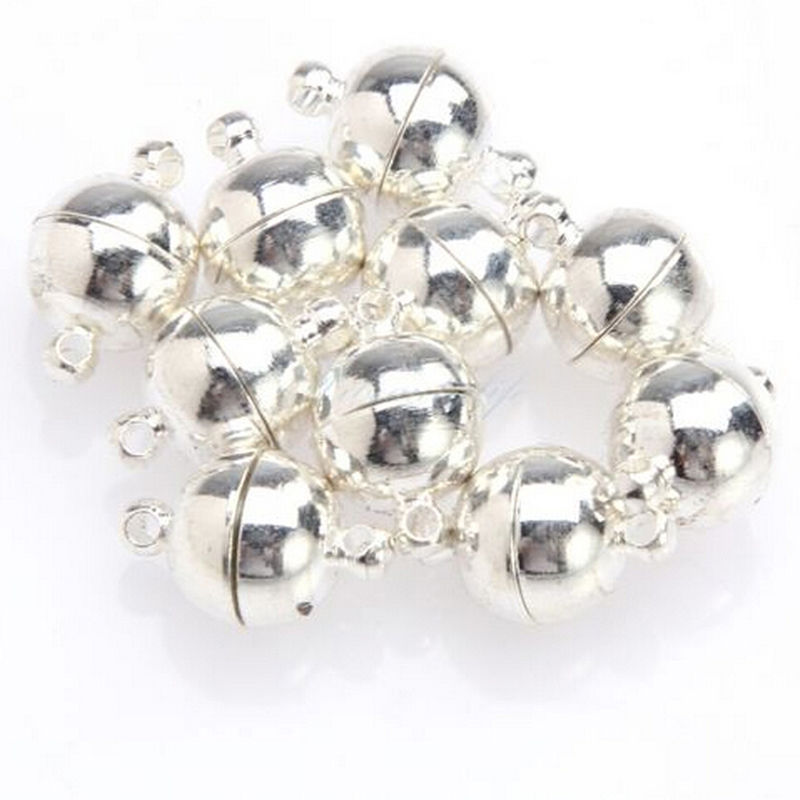10Pcs 6 8mm Sliver Gold Jewelry Bracelet Necklace Round Beads Magnetic Clasp DIY Connectors Accessories Making Fittings in Jewelry Findings Components from Jewelry Accessories