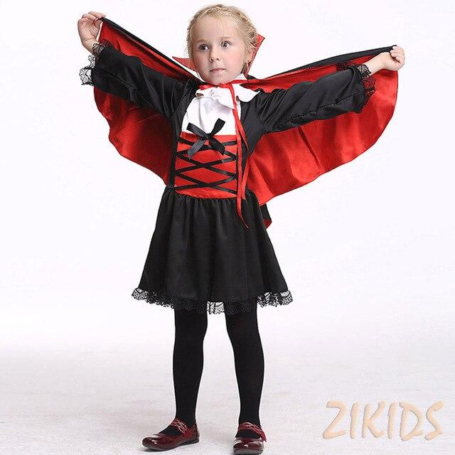 Vestiti Halloween Bambina 3 Anni.Us 26 65 3 8 Anni Ragazze Halloween Vampiro Conte Costume Cosplay Bambini Vestiti Dei Bambini Set Di Carnevale Festa In Maschera Abiti Abiti 2017 In