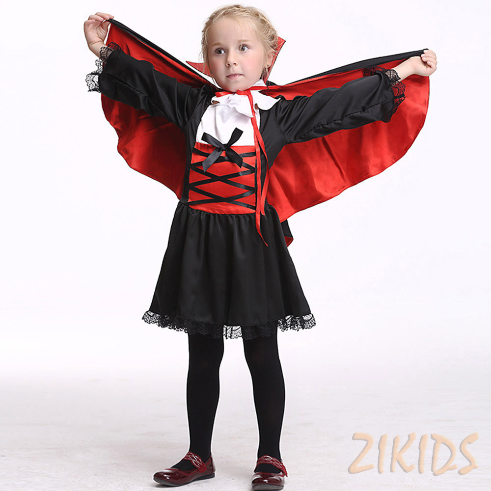 3-8 Years Girls Halloween Vampire Count Cosplay Costume Kids Children Clothes Set Carnival Party Masquerade Dresses Suits 2017 american vampire volume 3