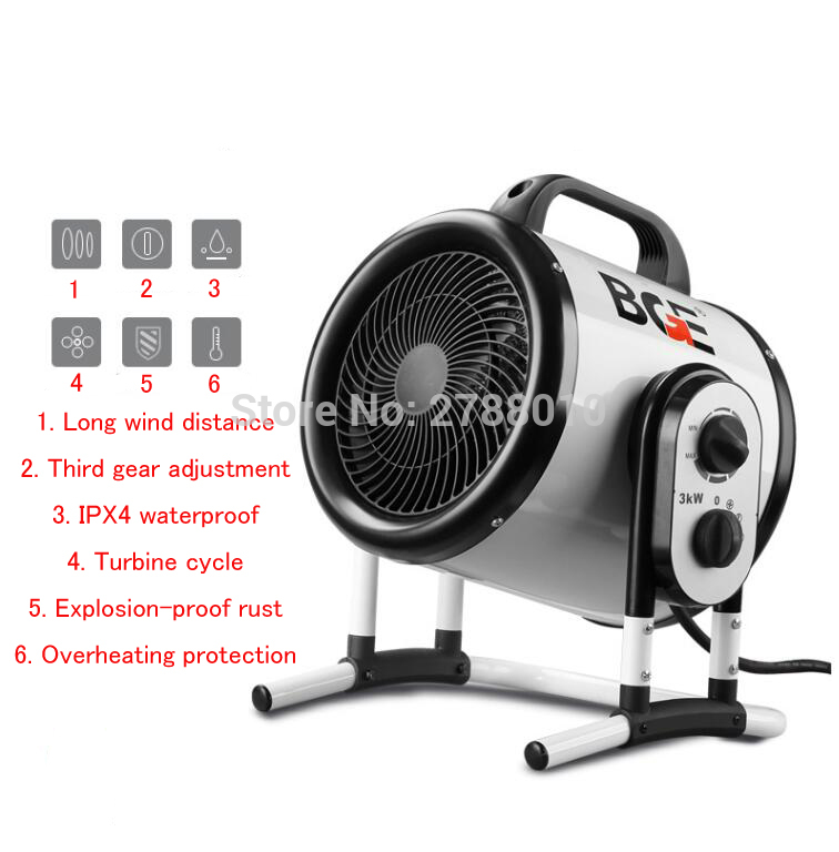 3000W Electric Heater High Power Air Blower Air Heater For Bathroom/ Household Industrial Dryer
