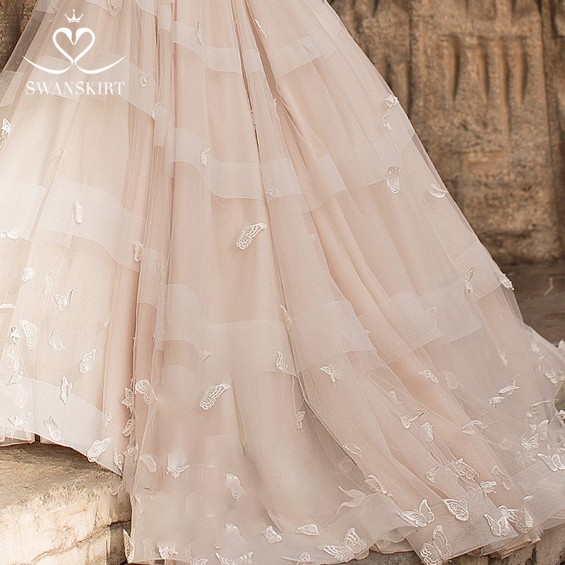 Image 5 - Romantic 3D butterfly Wedding Dress 2019 Swanskirt Appliques A Line Princess Lace Up Bride Gown vestido de noiva N101-in Wedding Dresses from Weddings & Events