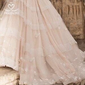 Image 5 - Romantik 3D kelebek düğün elbisesi 2020 Swanskirt aplikler A Line prenses dantel Up gelin kıyafeti vestido de noiva N101