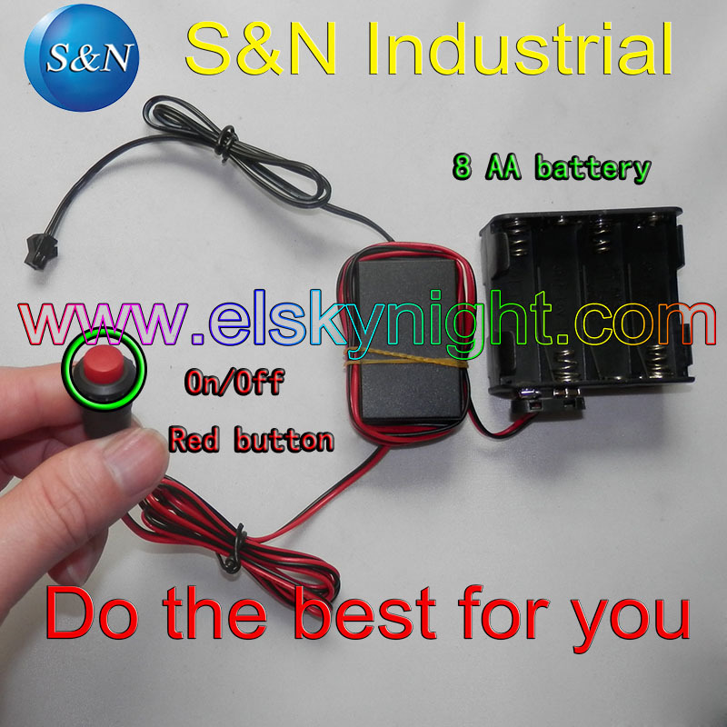 EL Inverter 12V8AA Battery Case For 20 Meters El Wire  Using For Tron Dancing,advertising And Display