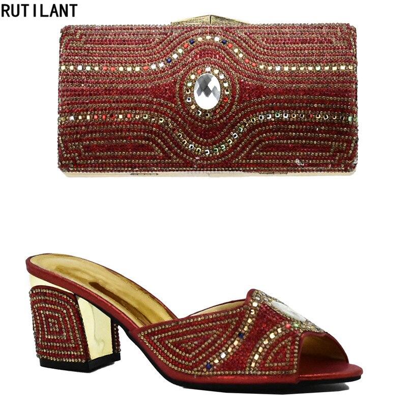 Women Shoes and Bags To Match Set Sale Italian Ladies Shoes and Bag To Match Set Decorated with Rhinestone Nigerian Wedding Shoe