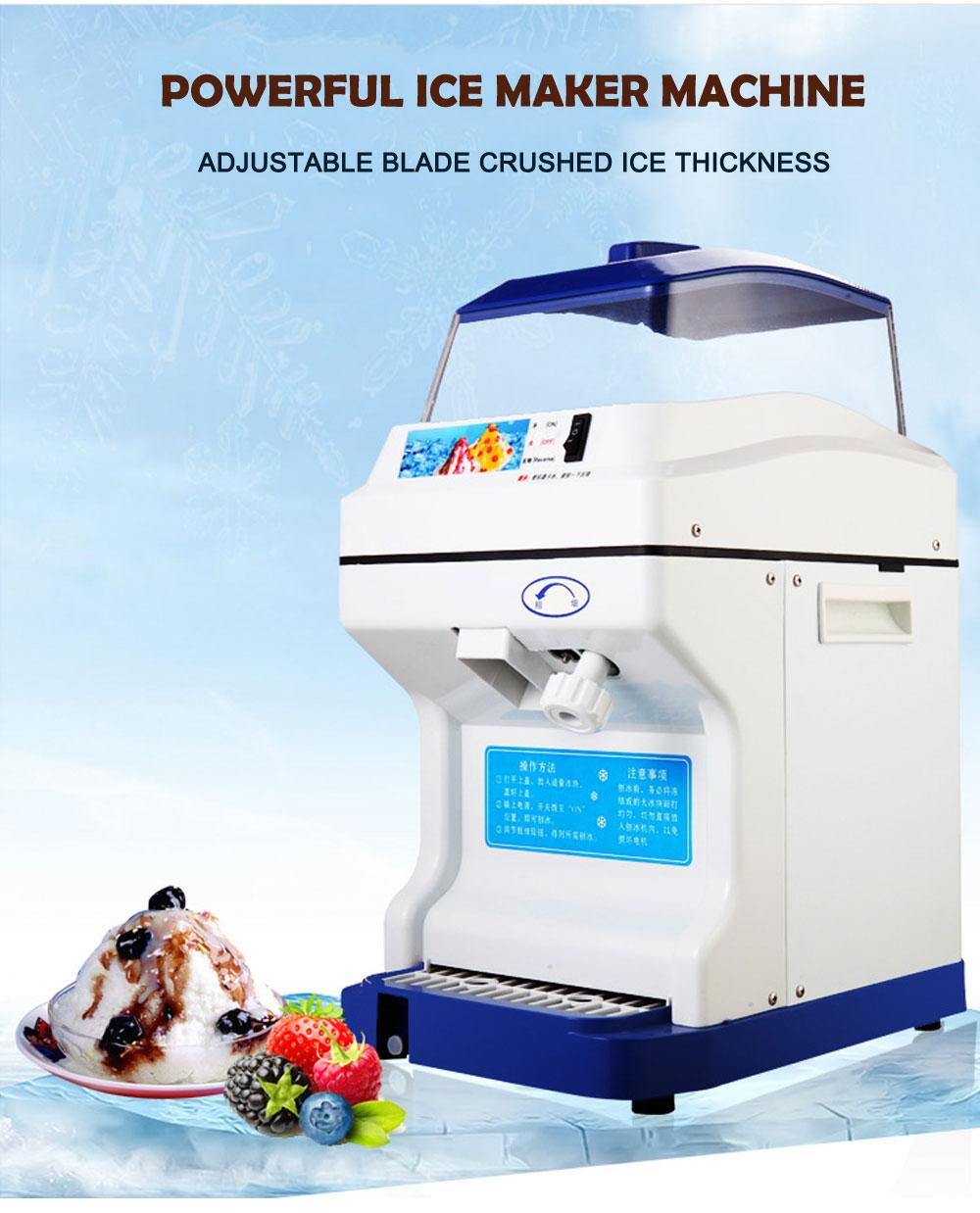 Machine à raser électrique broyeur à glace Machine à glace à noyau de neige réglage de l'épaisseur de la glace