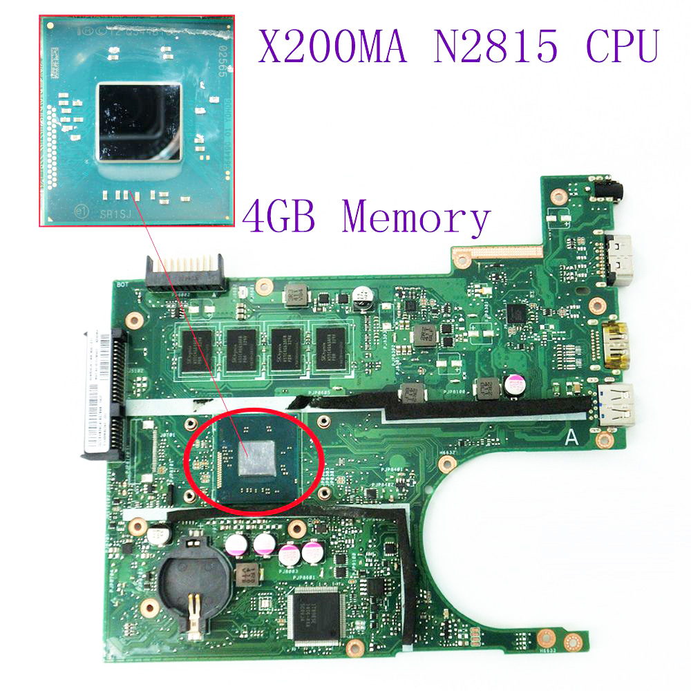 все цены на X200MA Motherboard REV2.1 On Board N2815 CPU 4GB Memory DDR3 For ASUS X200MA K200MA F200M Laptop mainboard 60NB04UO 100% tested онлайн