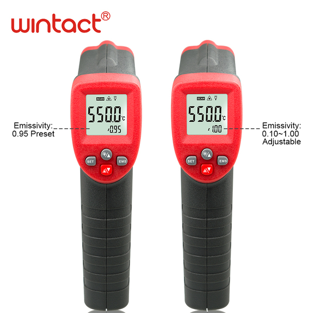 Non Contact Digital Infrared Laser Infrared IR Thermometer Adjustable Emissivity  50~550C Infrared Thermometer Pyrometer