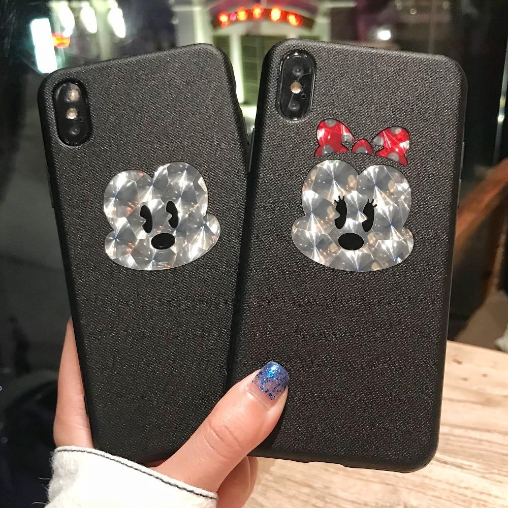Новый высокое качество прекрасный мультфильм телефон чехол для iPhone 8 7 6 6s Plus Микки и Минни Маус блеск Крышка корпуса ТПУ для iPhone x