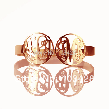 AILIN Mothers Day Gift Cut 2 Monogrammed Initial In 2 Circle Monogram Name Bracelets Personal Monogram Mom Gift