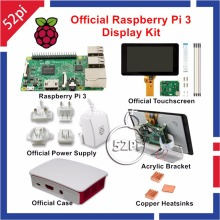 Wholesale prices Official Raspberry Pi 3 Display Kit with 7 inch 800×480 Touch Screen 5.1V 2.5A Power Supply Case Copper Heatsink Acrylic Bracket