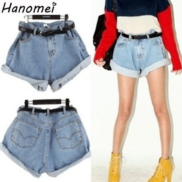 Free Shipping New 2017 vintage loose plus size roll up hem high waist short jeans denim shorts women Blue / Light Blue C488