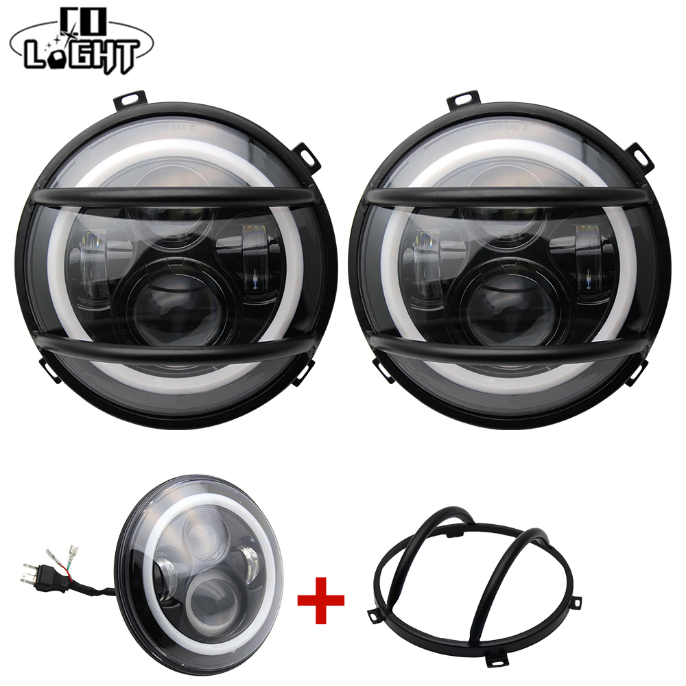 CO LIGHT 7 Round Headlights 2Pcs 7'' H4 High Low 50W Led Chips with Protection Mask for Lada Niva Jeep Wrangler Jk Nissan 4Wd led car headlights 7 angelic eyes 50w h4 hi lo with mask for jeep lada nissan safari nissan patrol toyota land cruiser prado
