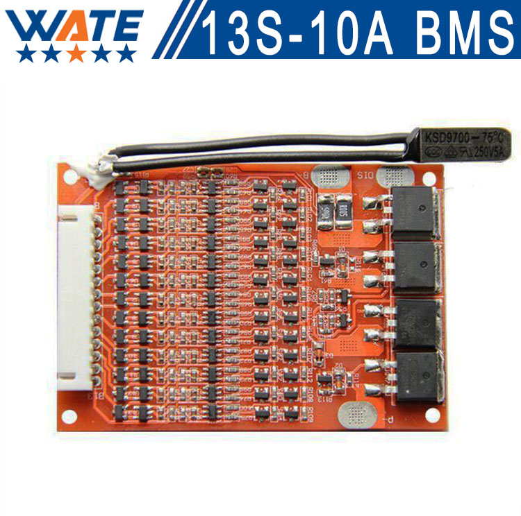 Free shipping 48V13S 10A BMS 13 sli Lithium-Ion 48V battery bms pcm with protection plate balancing for li-ion cell battery pac 4a 5a pcb bms protection board for 3 packs 18650 li ion lithium battery cell 3s 2pcs