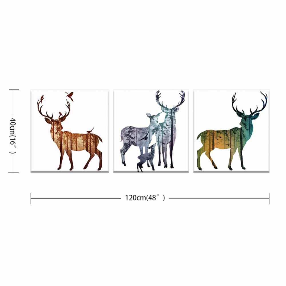 3pcs/set NEW Abstract animal series Canvas Art Print Poster , Nordic Forest elk Wall Pictures for Home Decoration frame