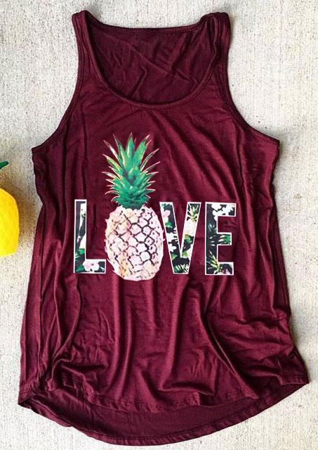 New Tank Tops Women Summer Love Pineapple Print O-Neck Tank 2018 Female Casual Burgundy Loose Vest Fashion Ladies Tops Tee