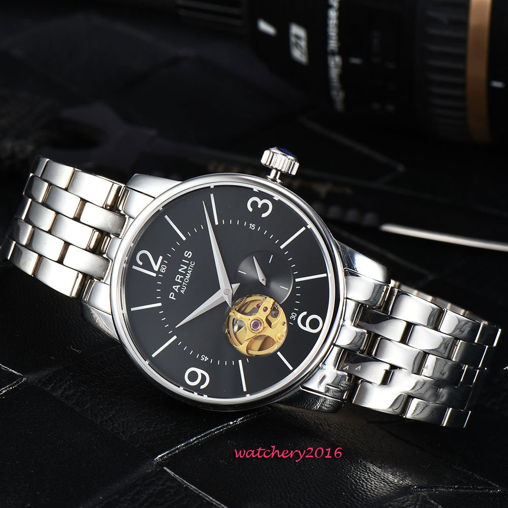 2019 top brand Luxury 38mm parnis Black Hollow Dial Small Second SS Band Sapphire Crystal Miyota Automatic movement mens Watch image