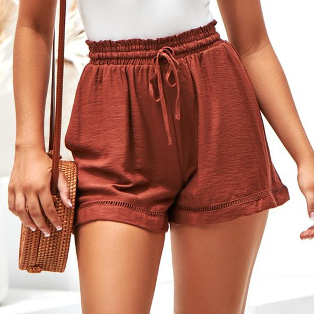 Short Femme 2019 Loose High Waist Shorts Women Summer Hot Lantejoula Bandage High Waist Shorts Plus Size Loose Casual White