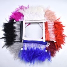 2Meterslot Natural Rooster Feather Trims Fringe plumes 4-6inch colored feathers Ribbon for Sewing DIY Clothing dress decoration
