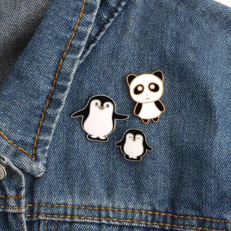 Высокое качество мультфильм милый эмаль Булавки Пингвин Panda животных аниме значки Для женщин Броши Знак куртка Hat ювелирные изделия Броши