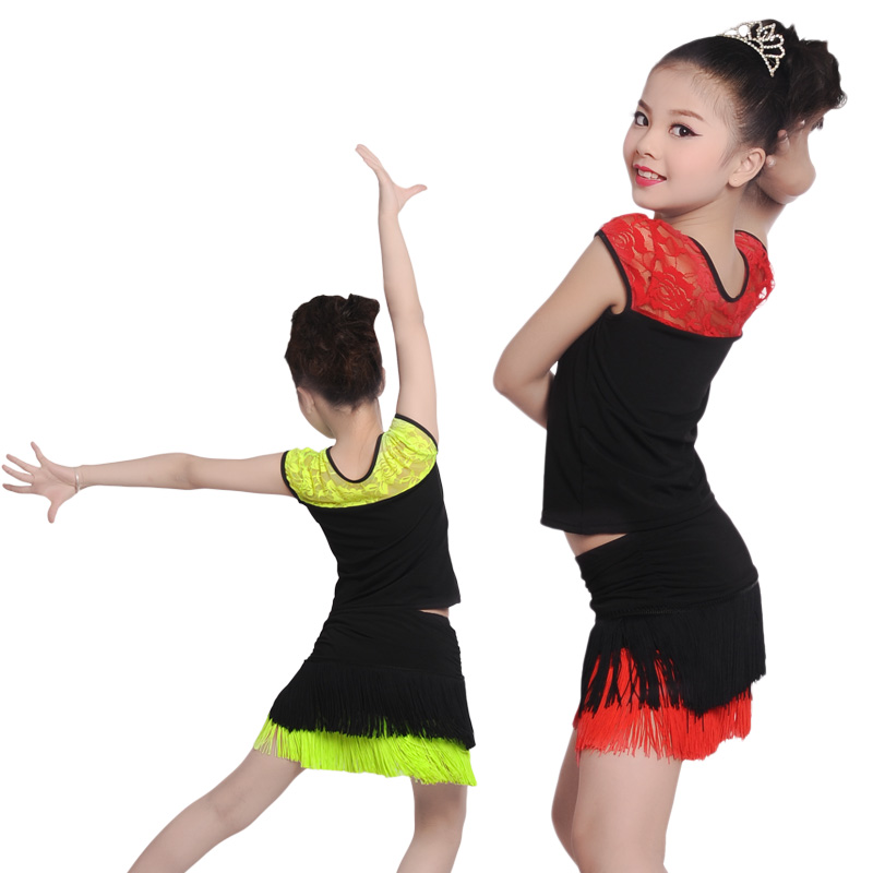 ba50cb53785b5 Cheapest Girls Kids Ballroom Latin Dance Dress Fringed Salsa Dance Clothes  Children Junior Latin Dresses With Underpants