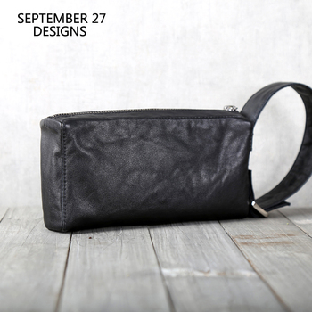 Genuine Leather Men Phone Wallet Casual Clutches Bag Handmade Luxury Male Purses Large Capacity Travel Money Bag Long Wallets