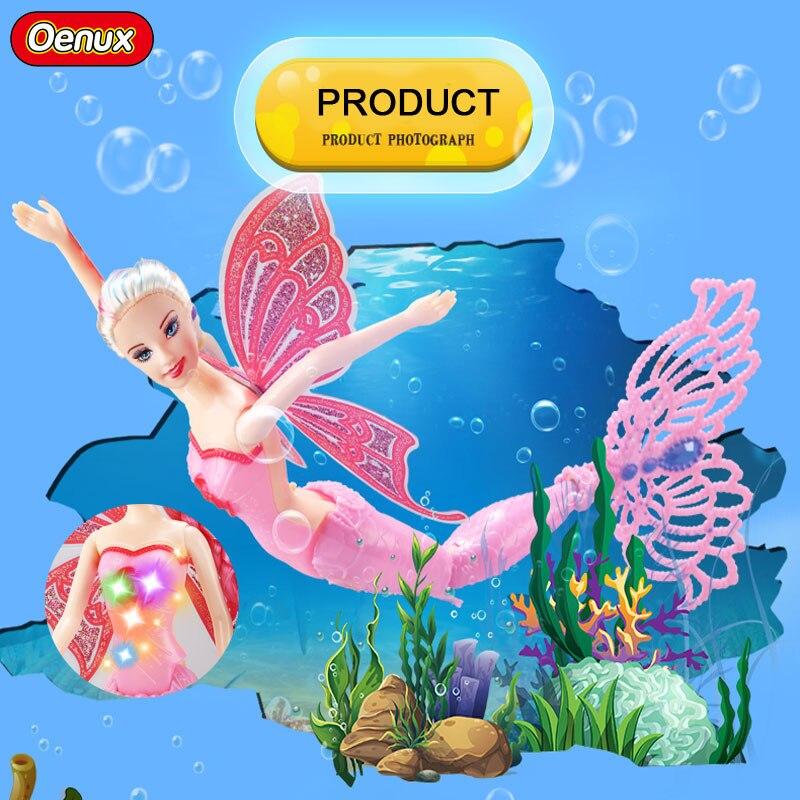 Oenux Fashion Moxie Princess Mermaid Dolls With LED Light Girls Luminous Swimming Mermaid Doll Toy For Girls Birthday Gift