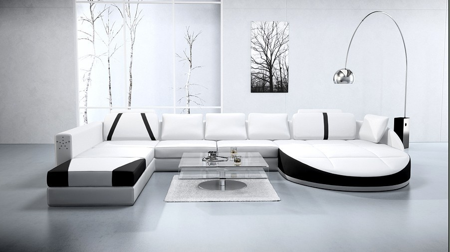white genuine leather sectional sofa a1122