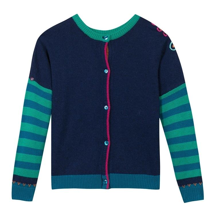 ФОТО brand Free Shipping 2016 autumn brand girl printed long sleeve knitwear cotton tee children's puff sleeve sweater 2