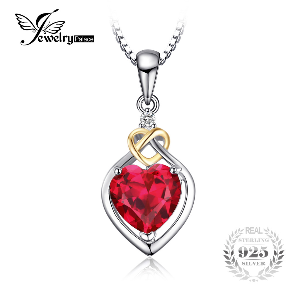 JewelryPalace Love Knot Heart 2.5ct Created Red Ruby Anniversary Pendant 925 Sterling Silver 18K Yellow Gold Without A Chain 2018 aliexpress silver 925 gold color love heart wing chain pendant
