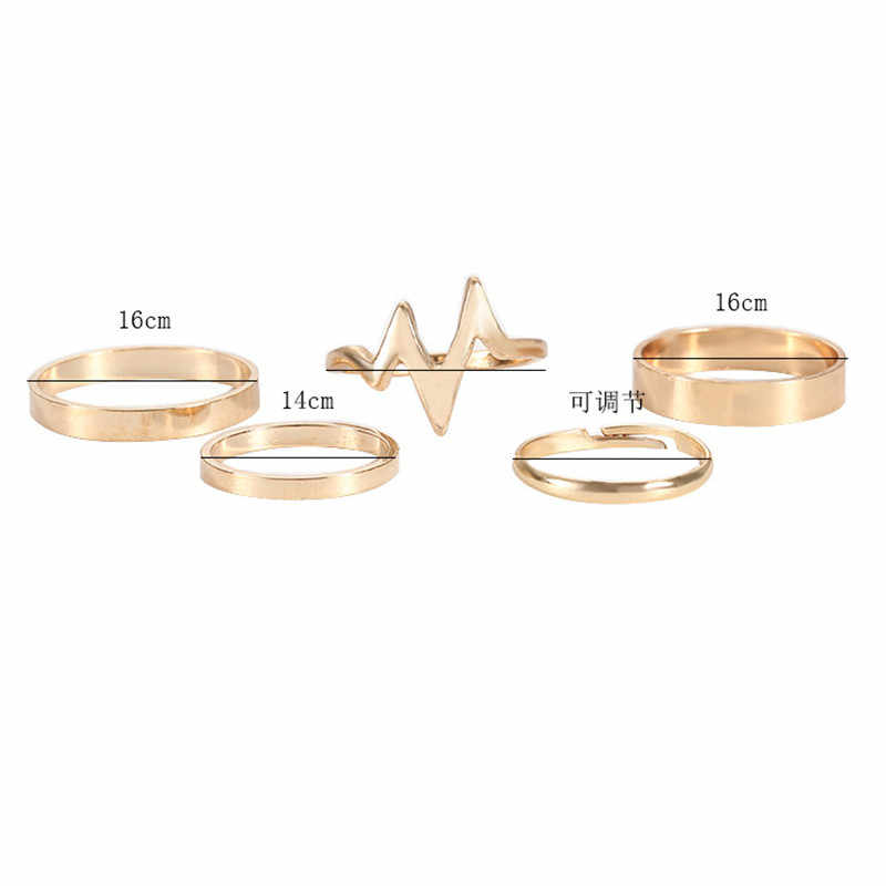 Novo Anel Moda Relâmpago ECG Conjunto Anel de Liga de Anel Liso das Mulheres Five-Piece 925 anéis S144