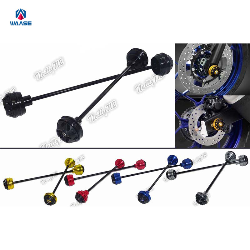 Motorcycle Front & Rear Wheel Fork Axle Sliders Cap Crash Protector For BMW S1000RR K46 2009 2010 2011 2012 2013 2014 2015 2016 new motorcycle cnc billet rear axle spindle chain adjuster blocks for bmw hp4 2012 2014 s1000r 2013 2015 s1000rr 09