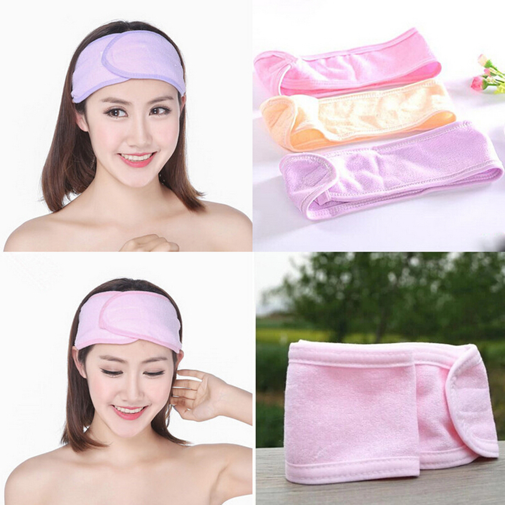 1Pc Wash Face Makeup SPA Hair Band Womens Sweat Elastic Soft Headbands Pink