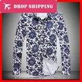 Dropshipping мужская Большой Высокий (L-5xl) С Длинным Рукавом Цветочный Дизайн Хлопок Рубашки, G2247