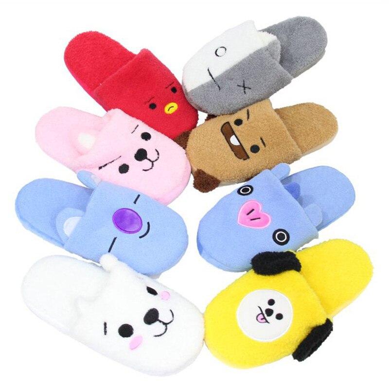NEUE Kpop BTS BT21 Bangtan Boys Q Arten Plüsch Hausschuhe Spielzeug Pencilcase Nette COOKY CHIMMY Warme Innen Haus Home Party schuhe