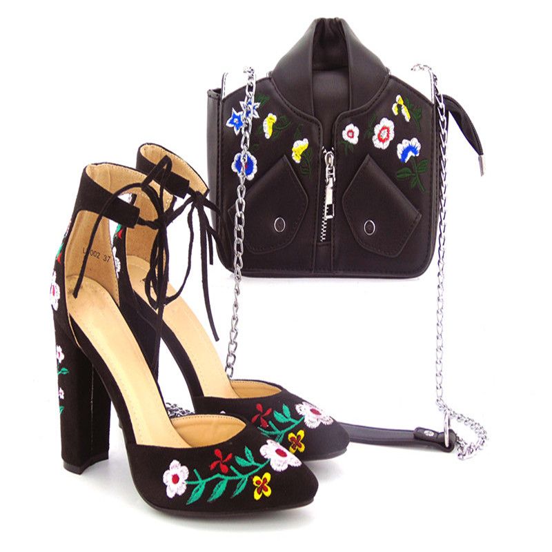 505-7-1 Black Specail Pattern Latest European Ladies Shoes And Bags Sets High Quality Italian Shoes And Bag Set  Free Shipping 505 7 1 silver beautiful design european ladies shoes and bags sets high quality italian shoes and bag set free shipping