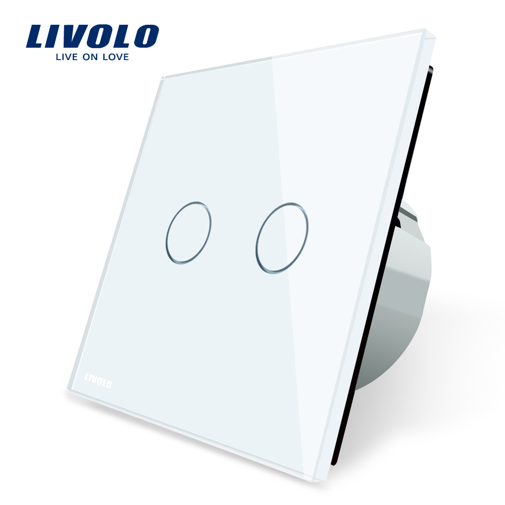 Livolo 2 Gang 1 Way Wall Touch Switch, White Crystal Glass Switch Panel, EU Standard,  VL-C702-1/2/3/5 smart home eu touch switch wireless remote control wall touch switch 3 gang 1 way white crystal glass panel waterproof power