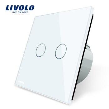 Livolo 2 банды 1 способ сенсорный выключатель, переключателя белый кристалл стекло Панель, ЕС Стандартный, VL-C702-1/2/3/5