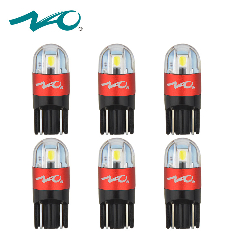 NAO 6pcs T10 LED W5W Car Bulbs 168 194 Turn Signal Auto Clearance Lights 12V License Plate Light Trunk Lamp COB White 3030 SMD