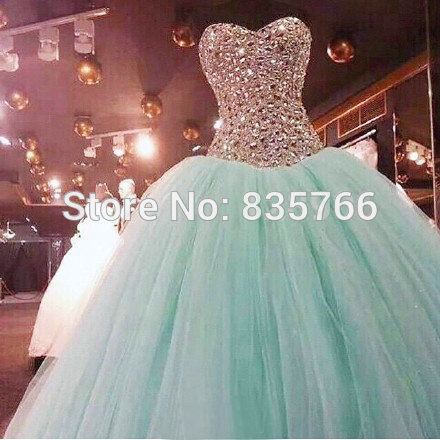 1335b0788 Blue Ball Gown Prom Dress Sweetheart Corset Crystal quinceanera dresses 15  Birthday Party