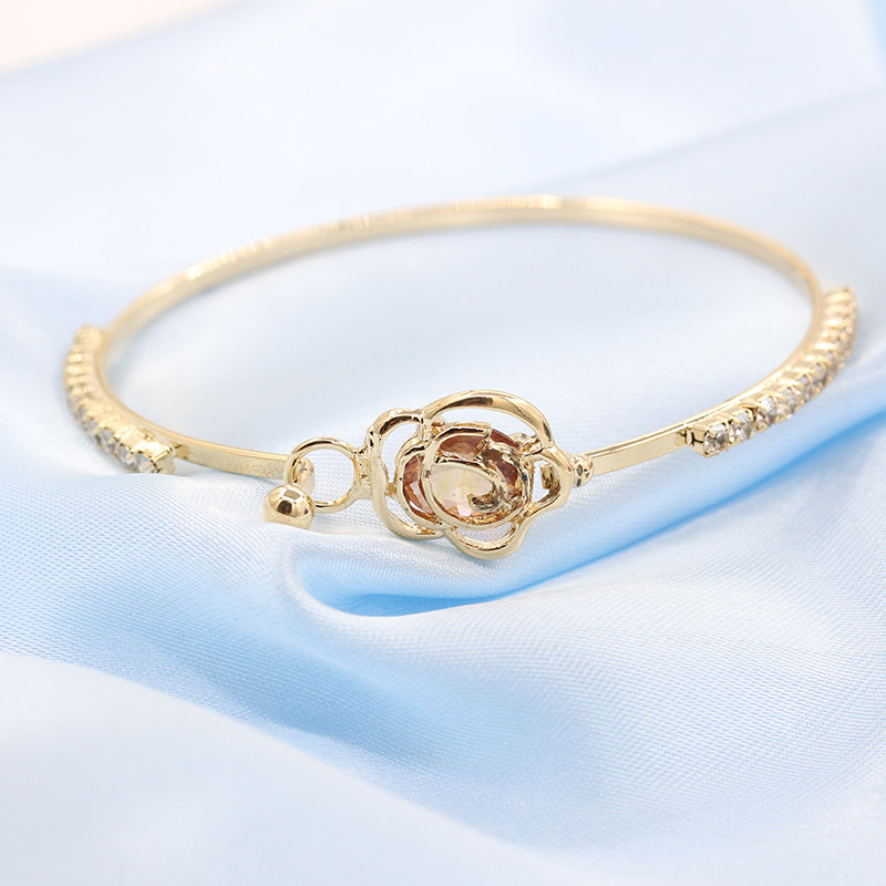 Center Big Rhinestone Hollow Flower Crystal Metallic Golden Bracelets & Bangles for Women
