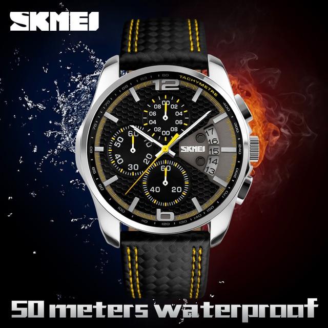 Men s Erkek Kol Saati Quartz Watch Men Genuine Leather Quartz Wristwatch Waterproof  Fashion Casual Relogio Masculino 0497d1067d