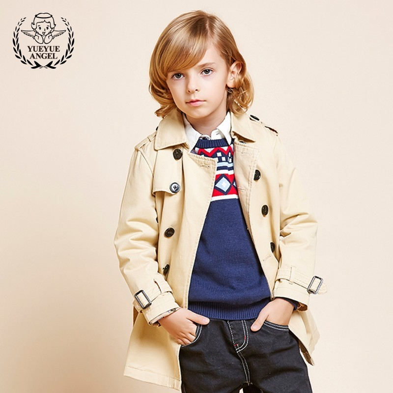 3-12 Years Old Boys Trench Coat New Brand British Cotton Belt Long Windbreaker Boy Beige Turndown Collar Childrens Jacket 3-12T korean style turndown collar solid color double breasted long sleeves polyester trench coat for men