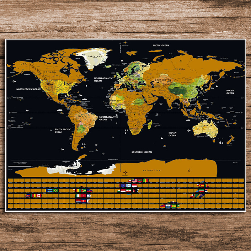 Drop Shipping Deluxe World Map Personalized National Flag Black Gold