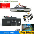 Wireless Color CCD Car rear view camera for AUDI A1/A4 (B8)/A5 S5 Q5 TT/ VW PASSAT R36 5D TFT LCD Car Reverse Mirror MONITOR