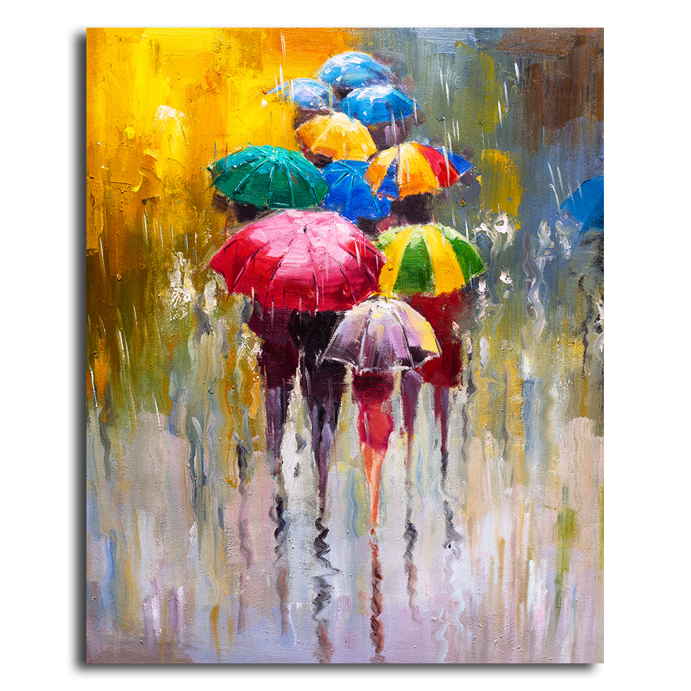 Oil Painting Rainy Day Cityscape Canvas Pictures for Living ...