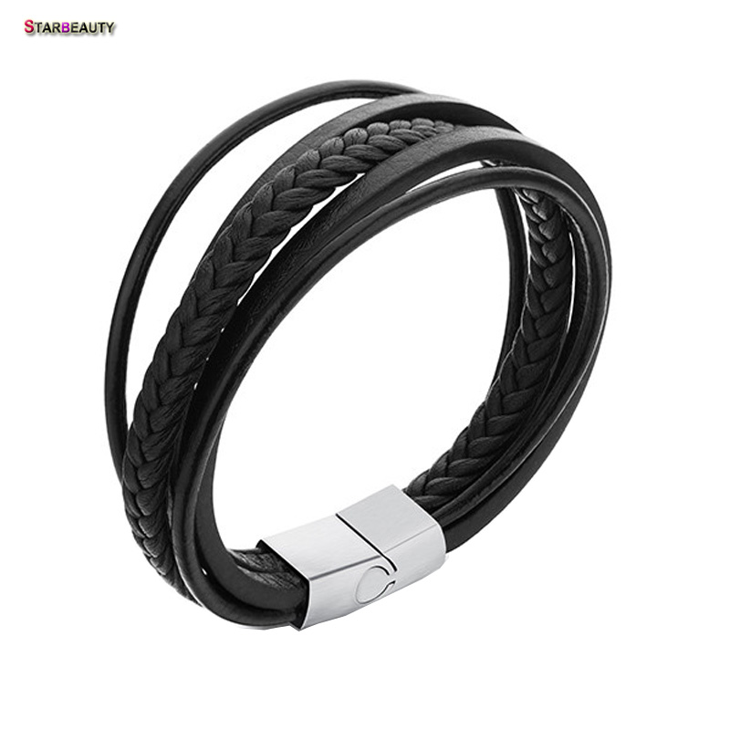 Starbeauty Vintage Black 6 Multi-layer Leather Bracelet Men Hand Woven Bracelets Bangles Magnetic Buckle Men Bracelet Jewelry
