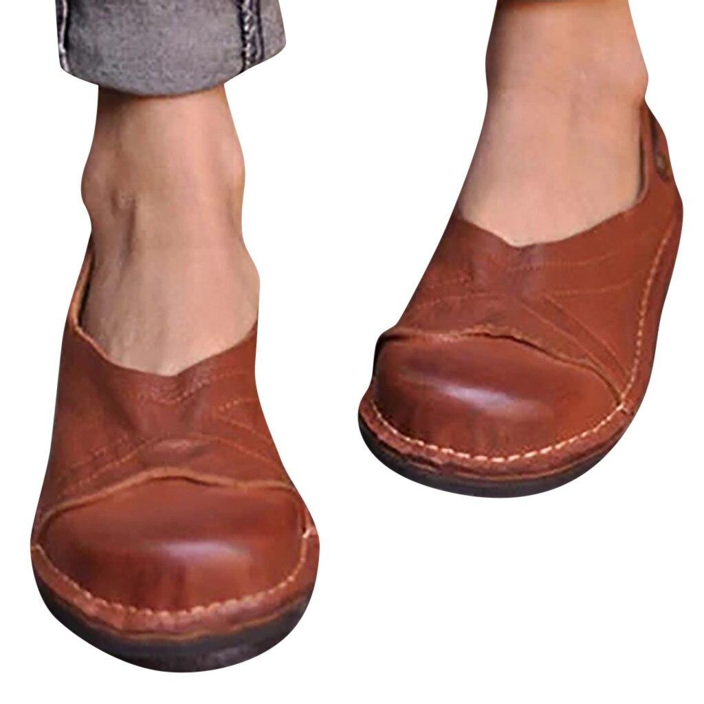 Big Size Low-Heeled Retro Roman Shoes Women Flat Sandals Ladies Single Shoes Casual Shoes Flat Shoes 2019 Slip On Peas Shoes