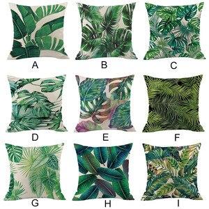 Image 1 - Зеленая наволочка с изображением леса, удобная ткань, тропический завод, наволочка из полиэстера, диван, набор, украшение для дома, 2019