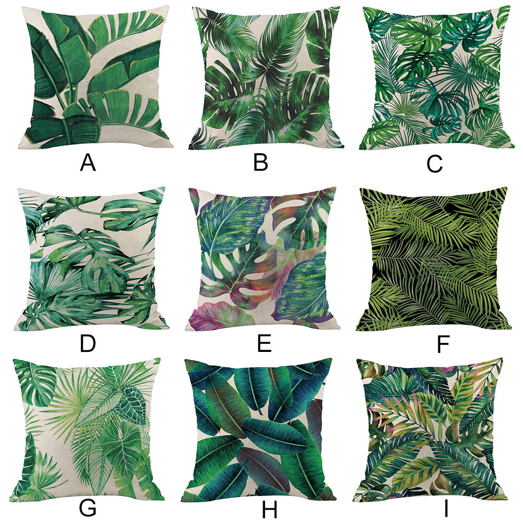 Green forest pillowcase Comfortable fabrics Tropical plant polyester pillowcase sofa throwing pad set home decoration 2019 Hot-in Cushion Cover from Home & Garden