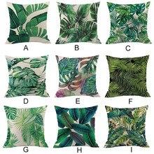 Groen bos kussensloop Comfortabele stoffen Tropische plant polyester kussensloop sofa gooien pad set home decoratie 2019 Hot